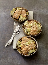 Lettuce gratin with salmon