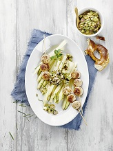 Asparagus with veal sausage and courgette relish
