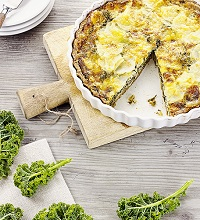Quiche with kale and jerusalem artichokes