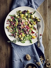 Brussel sprout salad with savoy cabbage and glazed sweet chestnuts