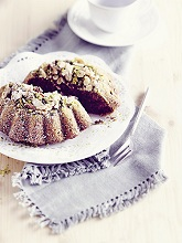 Zucchini - nut - cake baked in pudding form