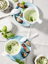 Potato - basil - soup with goat cheese