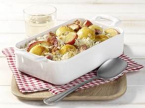Sourcrout casserole with potato dumplings