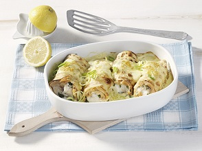 Gratinated crespelle with fish