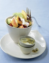 Fruit salad with passion fruit dressing *** Local Caption *** 85146415