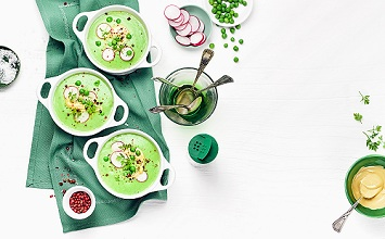 Pea soup with radishes and almond creme *** Local Caption *** 89193069