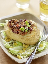 Baked potato with chili con carne