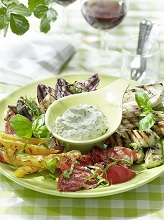 Grilled vegetables with herbs mayonnaise