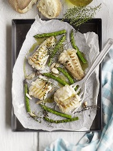 Grilled monkfish with green asparagus