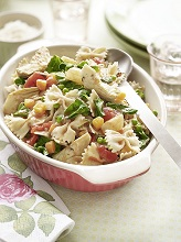 Pasta casserole with spring vegetables