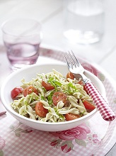 Noodle salad with cherry tomato and pesto sauce