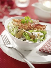 Iceberg lettuce salad with bacon and turkey *** Local Caption *** 89172530