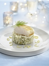Lemon risotto with haddock filet *** Local Caption *** 89172539