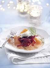 Smoked salmon with beetroot julienne *** Local Caption *** 89172540
