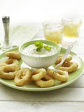 Wasabi dip with fried squid rings