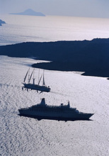 Cruise ships, Santorini, Cyclades Islands, Greece, Europe