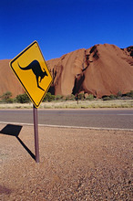 Road sign at Ayers Rock, Australia