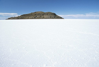 Isla de los Pescadores in centre, salt flats, Salar de Uyuni, Southwest Highlands, Bolivia, South America