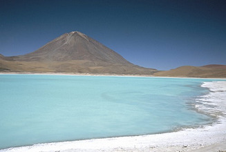 Laguna Verde with mineral flat margin and Volcan Licancabur, 5960m, Southwest Highlands, Bolivia, South America