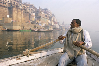 Boat on the River Ganges at dawn, Varanasi (Benares), Uttar Pradesh, India, Asia