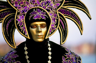 Portrait of a person dressed in mask and costume taking part in Carnival, Venice Carnival, Venice, Veneto, Italy, Europe