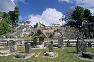 Stelae in foreground, North Acropolis, Tikal, UNESCO World Heritage Site, Guatemala, Central America