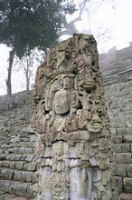 Stela N and Temple of Inscriptions, Mayan site, Copan, UNESCO World Heritage Site, Honduras, Central America