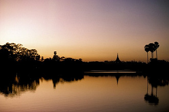 Sunset on Royal Lake, Yangon (Rangoon), Myanmar (Burma), Asia
