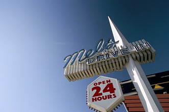Sign for Mel's Diner, Hollywood Boulevard, Los Angeles, California, United States of America, North America
