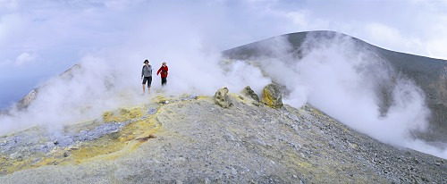 Fumaroles on the crater edge, island of Vulcano, Aeolian Islands, UNESCO World Heritage Site, Sicilia, Sicily, Italy, Mediterranean, Europe