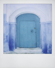 Polaroid of painted blue door against blue and whitewashed wall, Chefchaouen, Morocco, North Africa, Africa