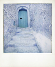 Polaroid of traditional bluewashed street and walls, Chefchaouen, Morocco, North Africa, Africa