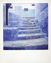 Polaroid of traditional bluewashed steps, Chefchaouen, Morocco, North Africa, Africa