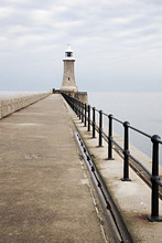 North Pier and Lighthouse, Tynemouth, North Tyneside, Tyne and Wear, England, United Kingdom, Europe