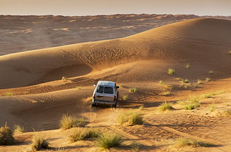 Four wheel drive on desert dunes, Wahiba, Oman, Middle East