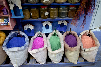 Bag of powdered pigments to make paint, Chefchaouen, Morocco, North Africa, Africa