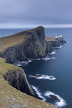 Neist Point Lighthouse, the most westerly point on the Isle of Skye, Inner Hebrides, Scotland, United Kingdom, Europe