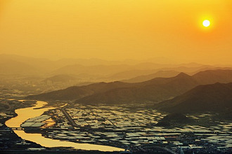 Sunset over city, Busan, South Korea, Asia