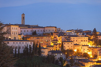View of Spoleto at dusk, Umbria, Italy, Europe