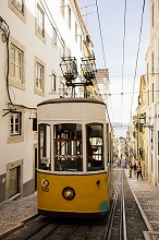 Tram in Elevador da Bica, Lisbon, Portugal, Europe