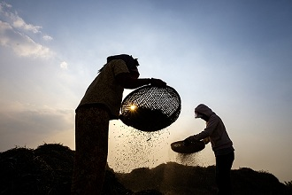 Agriculture, winnowing peas, Kampong Chhnang, Cambodia, Indochina, Southeast Asia, Asia