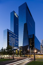 Exterior of Delftse Poort at night, Rotterdam, Netherlands, Europe