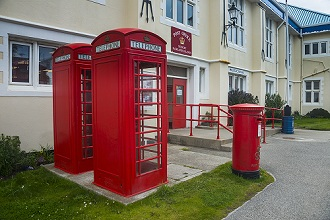 Post office and typical phone boxes, Stanley, capital of the Falkland Islands, South America