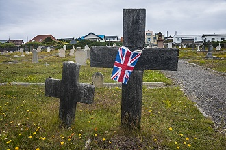 Cemetery in Stanley, capital of the Falkland Islands, South America