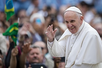 Pope Francis arrives for his weekly general audience in St. Peter's Square at the Vatican, Rome, Lazio, Italy, Europe