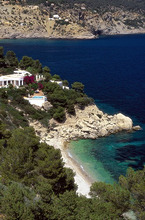 Mansion at the south coast in the sunlight, Ibiza Spanien, Europe