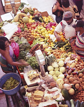 People at a vegetable stand at the market, Sao Vicente, Cape Verde, Africa