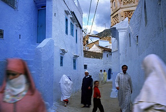 Alley in Chefchaouen, Morocco, North Africa
