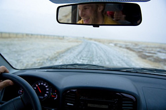 Car, looking through windshield, Iceland