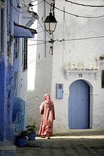 Local woman at the medina of Chefchaouen, Morocco, Africa
